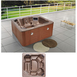 Square 6 Person Hydro Massage SPA   Outdoor Whirlpool Hot Tub with 74 Massage Jets