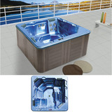 2.2meters square bathtub with massage function | hot tub with 54pcs of 304SS massage jets with one lounge