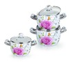 6PCS new design white enamel decal casserole set