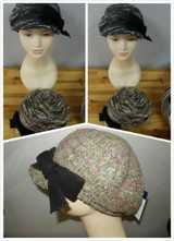 FASHION LADIES HAT WITH A BIG BLACK BOWKNOT