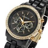 2014 Luxury Fashion Geneva Watch Stainless Steel Back Customized Design with diamond