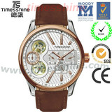 image fancy sport watch double movt's stainless steel watch leather