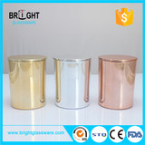 China Factory Glass candle holder rose gold color candle holder with bamboo lid jars and lids