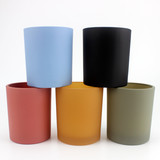 new product high quality matte black glass candle jar with wooden candle lid wholesale