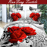 100% cotton 3d red rose printed bedding cover set
