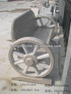 Wheel design of garden stone bench with back