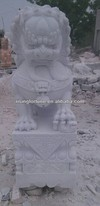 Antique white marble lion statues for sale
