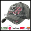 Fashion washed denim cap with glitter letter embroidery