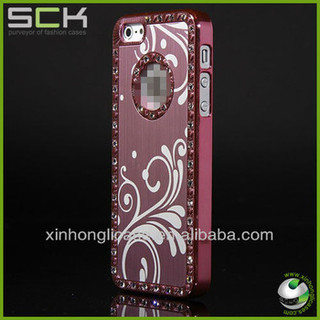 Aluminum material back case for iphone 5 with decorative pattern