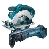 Makita BSS610Z 18 Volt 165mm Cordless Circular Saw and BTM50Z Multi Tool