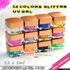 wholesale nail art 12 colors glitter color uv gel, nail polish gel#10882J