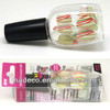 Colorful stripe fake nails set with plastic bottle