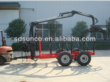 CE 1T-12T Wood Loading trailer with Crane