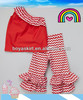 wholesale baby clothing Fancy girl chevron cotton outfit inclined shoulder top&ruffle chevron pants toddler cute clothes set