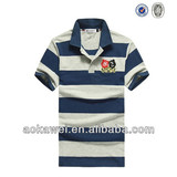 2014 fashion yarn dye cotton polo shirt with patch and embroidery wholesale china