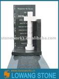LW shanxi black granite tombstone with cross