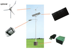 Solar LED street light with or without wind power