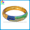Clip on Bangle of blue and green oil drop in gold metal enamel bangle bracelet wholesale