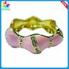 18K Gold Plated Olivary Zircon Alloy Bangle Bracelet Fashion 22 MM MB806