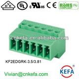 3.81mm PCB plug terminal block female terminal block with flange screw 300V 10A 2pin 24pin for PCB plug wire to wire connect