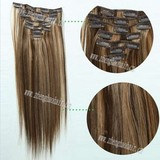 8pcs 18clips High Quality Mixed Color Clips In Human Remy Hair Extension/clip on human hair extension/wholesale hair clips