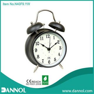 "4"" antique twin bell reading desk/table metal alarm clock"