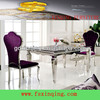 Marble top stainless steel frame dining table set-TH355