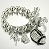 Fashion good quality silver beaded football cheer whistle charm bracelet/baseball hand charm bracelet