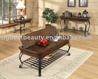 C001G Expandable coffee table wood coffee table base antique style coffee table metal coffee table