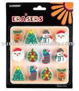 12pk Christmas Die-cut Erasers