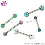 Custom Stainless Steel Externally Threaded Labret with Acrylic Ball tongue piercing jewelry
