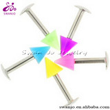 Stainless Steel Externally Threaded Labret with Neon Acrylic Cone lip ring