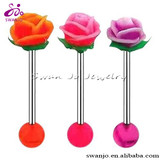 16mm ONE uv Reactive Silicone Top Love Rose Flower Tongue barbell ring
