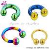 Circular Barbell with Titanium Balls horse shoe ring CBR body piercing jewelry