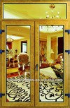 Aluminium-wood composite double hinged door