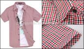 3014 short sleeve designer check shirts for man casual shirt,wholesale men clothing