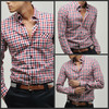 2014 100% cotton europe style plaid shirt for menmen's button down checkers shirt ,men's plaid casual shirts