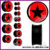 Black Acrylic Black Red Star Saddle Ear Plug Tunnels