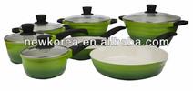 12pcs Green Die casting aluminium ceramic coating inner cookware set