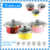 6pcs stainless steel colorful cookware set for sale and gift