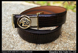 Hot selling cheap wholese Cowhide mens cow genuine leather brown colour Snake Pattern Plate buckle belts