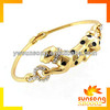 NEW FASHION GOLD PLATED LEAPORD BANGLE WITH ENAMEL