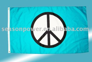 Green peace sign flags