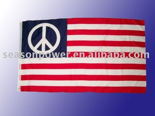 peace sign American flags