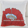 Red Flower Sofa Embroidery Polyester Linen Accent Cushion