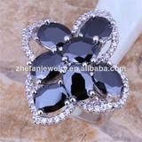 Black diamond finger ring brass jewelry wholesale
