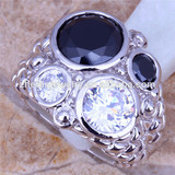 black stone man ring large fashion rings jewelry gay pride rings