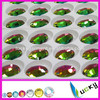 China Highest quality rainbow color sew on rhinestones super shine flat back crystal strass wih holes for wedding dress