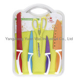 kitchen knife set with a cutting board