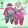 2015 new arrival velour fabric winter baby romper embroidery with hood